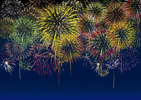 Summer festival fireworks display rally fireworks set material drawing