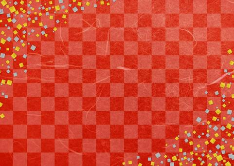 Red checkered Japanese paper and gold foil silver foil texture background material