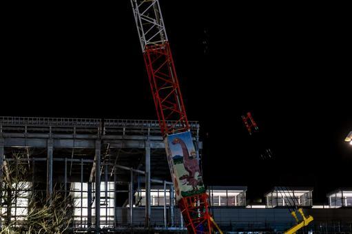 """【후쿠이 현 후쿠이시】 「호쿠리쿠 신칸센 쓰루 연신 공사 """"JR 후쿠이 역 동쪽 출입구 야간 촬영 건설"""