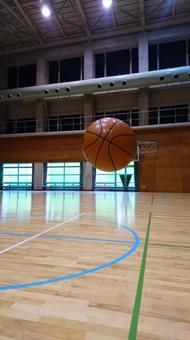 Gymnasium and basketball
