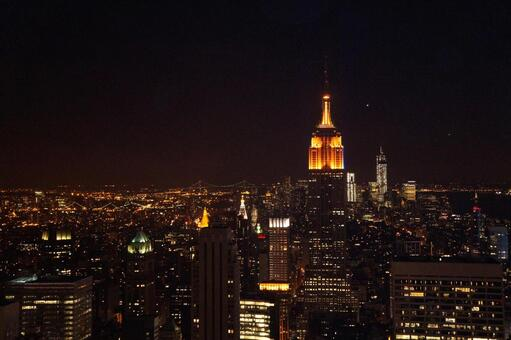 Night view of New York Empire State Building