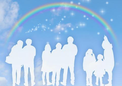 Image of bright society and rainbow