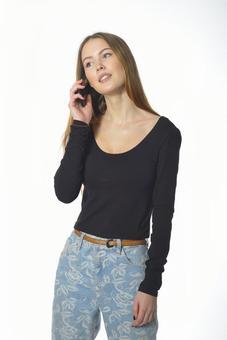 A woman who talks on a smartphone 1