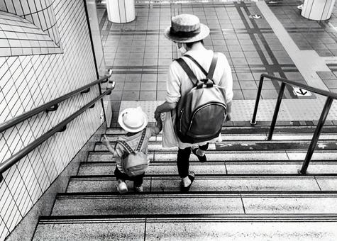 Working woman and child 2 Black and white