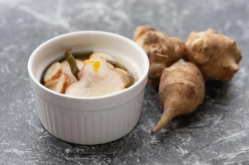 Superfood Jerusalem artichoke pickled in sweet and sour