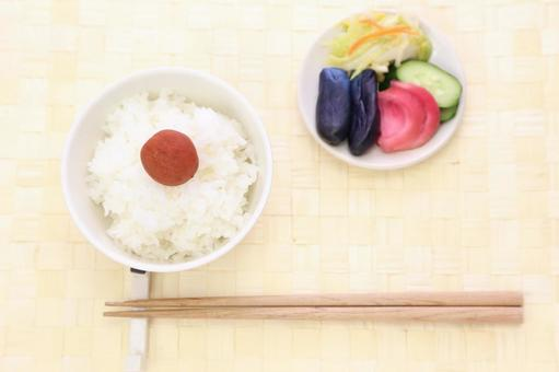 White rice cooked and Umeboshi and pickles 2
