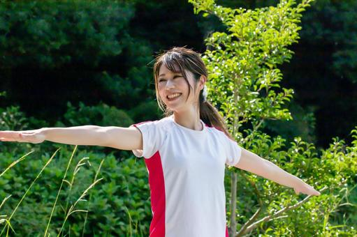 Smile woman doing yoga pose