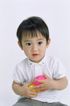 A boy with a ball