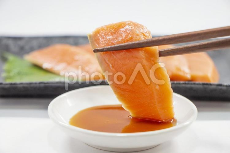 サーモンの刺身の写真