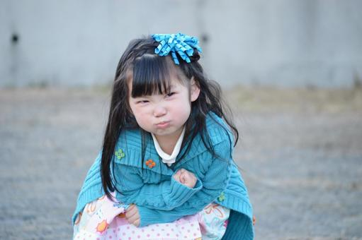 Angry face of child