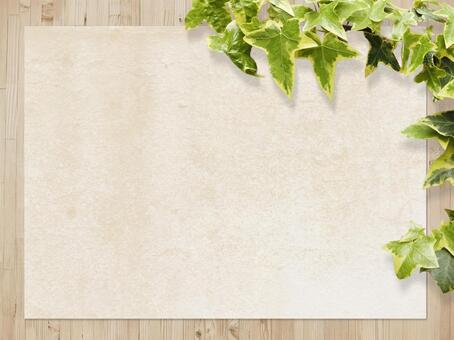 Wood grain and Japanese paper texture and plant background horizontal position material