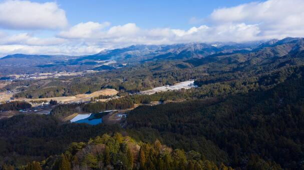 Scenery from the ruins of Iwamura Castle Drone aerial view in Ena City, Gifu Prefecture