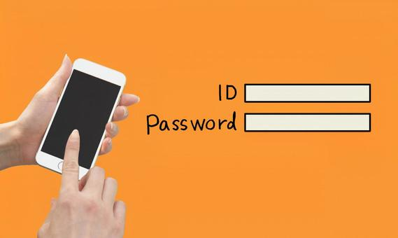 Female hand operating a smartphone ID and password Image Orange