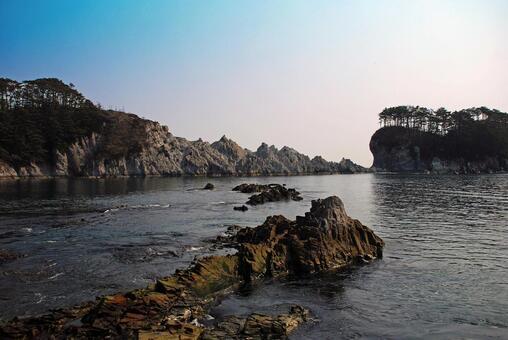 岩石海的Jodogahama