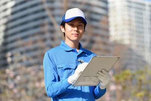 Man writing paperwork