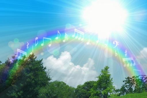 Sky, rainbow, and note background