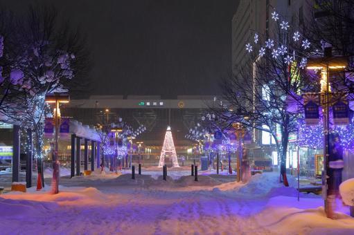 Illuminations at Asahikawa Ekimae-dori Shopping Park in winter