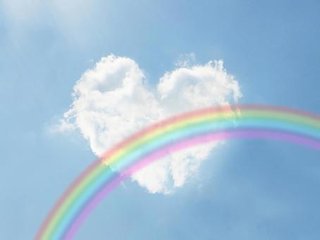 Heart cloud and rainbow