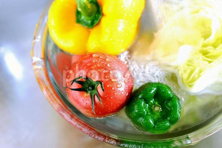 野菜を洗う 2の写真
