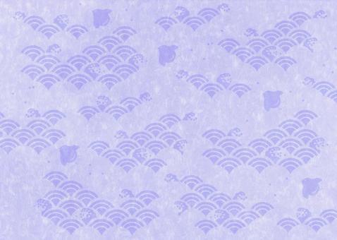 Houndstooth pattern between waves _ Japanese paper _ purple