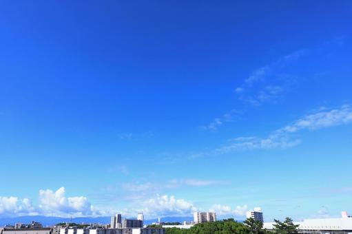 Beautiful cloud white and bright blue floating in the summer sky 2