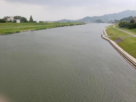 Chikugo River in bad weather. A magnificent river in Kyushu.