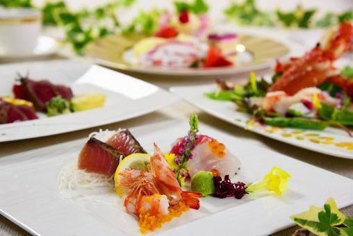 Assorted sashimi French course food image photo