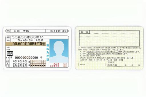 Driver's license front and back