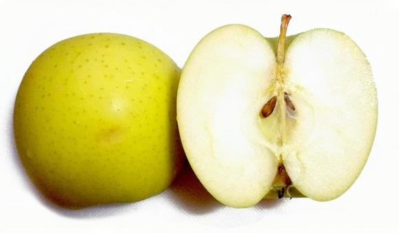 Cross section of green apple