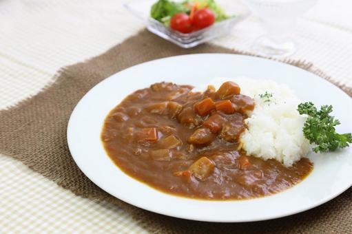 Curry and rice and salad 8