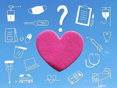 Medical illustration around the heart_blue sky background
