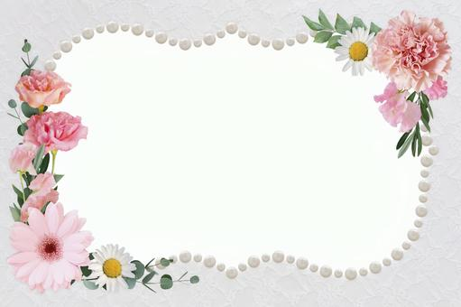 Pearl and flower frame