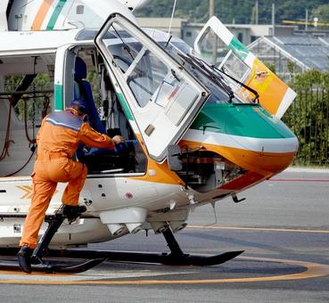 Disaster prevention helicopter flying 03
