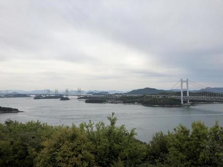 Seto Ohashi Bridge seen from Okayama's Seto Ohashi Bridge Memorial Park