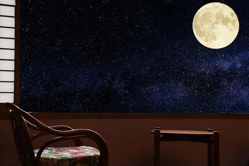 Retro inn scenery full moon