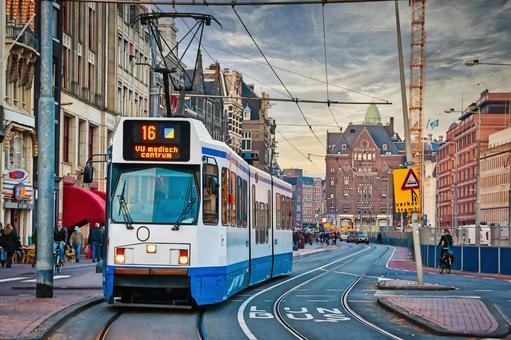 네덜란드 암스테르담의 거리 전차