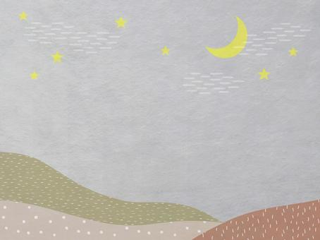 Japanese paper of night sky, moon and mountain scenery_Brown modern Japanese pattern texture_Background material