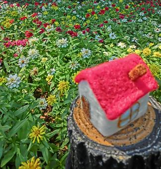 Red roof house and flower garden 6