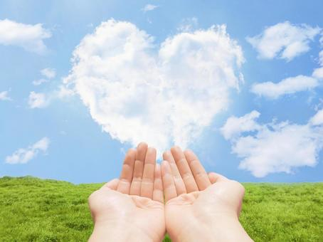 Heart clouds and meadows and hands