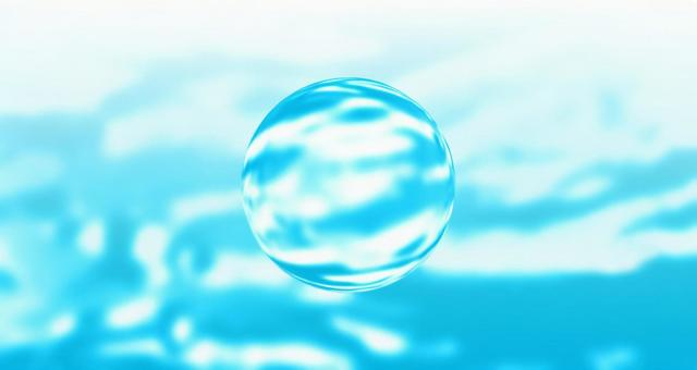 Glass sphere and light blue