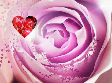 Red heart and pink rose glitter background