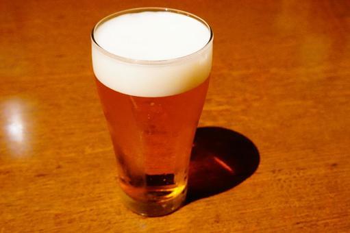 Freshly poured draft beer