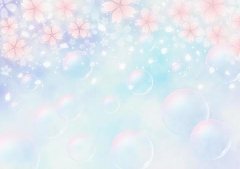 벚꽃과 비눗 방울 환상적인 봄 배경 소재 (파랑)