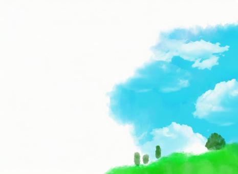 백그라운드 【수채화 하늘과 언덕]