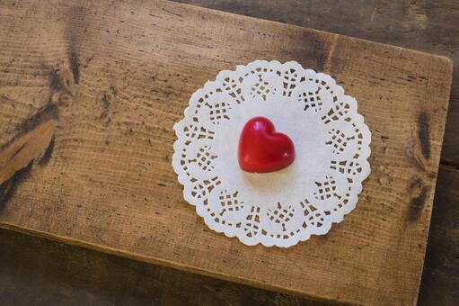 Chocolate heart _ Valentine material _ wooden board