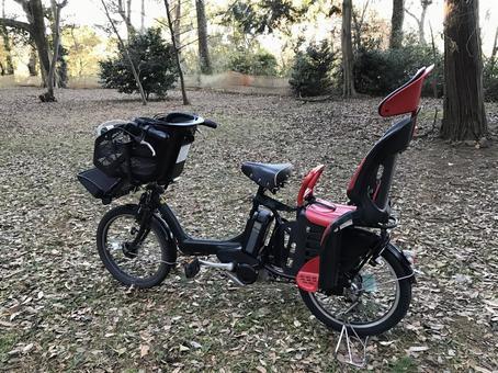 숲의 전동 어시스트 자전거