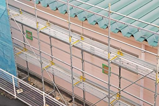 Scaffolding construction site