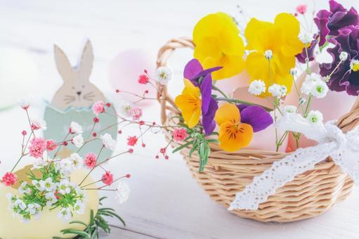 Easter flower basket egg shell arrangement