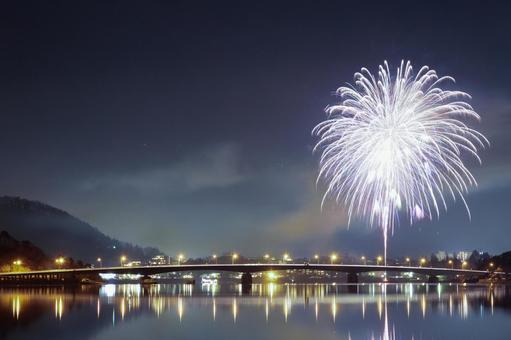 Fireworks display Lake Kawaguchi winter fireworks