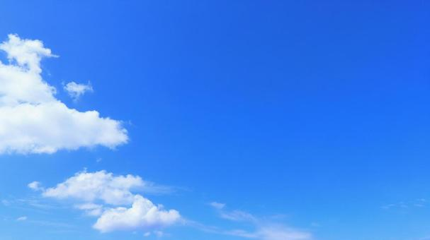 Blue sky with copy space and bright autumn sky with clouds